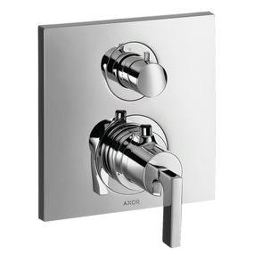 Misturador-Termostato-Axor-Citterio-Para-Chuveiro-Com-Valvula-De-Fechamento-E-Desviador-Com-Acabamento-Em-Alavanca