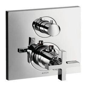 Misturador-Termostato-Axor-Citterio-Para-Chuveiro-Com-Valvula-De-Fechamento-E-Desviador-Com-Acabamento-Em-Cruzeta